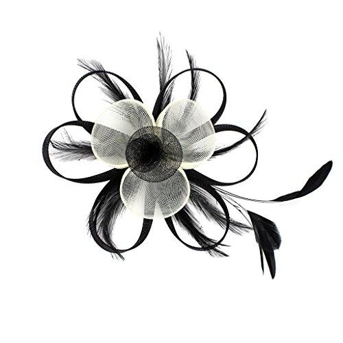 MagiDeal Frauen Net Feder Fascinator Haarspange Hochzeit Cocktail Party Frisur Dekor