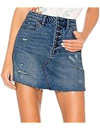 5c310499ac Mujer Falda Básica de Vaqueros Rotos lápiz Bodycon Mini Falda Jeans Sexy  Bolsillos Faldas Minifalda Corta