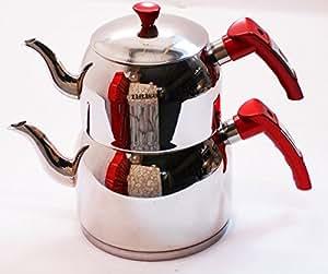 Turque teekannenset 0,80 l 1,30 lEdelstahl kAHRAMANLAR caydanlik théière 6 tasses pasabahce «ince belli» comme cadeau à cette fin
