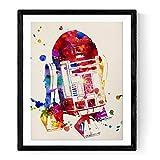 """Lámina para enmarcar """"R2-D2"""" estilo acuarela. Regalos baratos para hombre. Laminas para enmarcar. Papel 250 gramos alta calidad"""