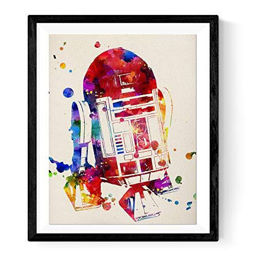 Nacnic Lámina para enmarcar R2-D2 Estilo Acuarela. Regalos Hombre. Laminas para enmarcar. Papel 250 Gramos