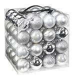 64x Kunststoff Christbaumkugeln 6cm Kugel Box Glanz Glitzer Matt Dekor Inge Glas, Farbe:Silber