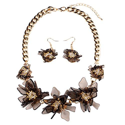 arz Blumen Kristall Charms Statement Choker Halskette und Ohrringe Sets für Frauen Fashion Bohemian Kostüm Schmuck - schwarz (Vintage Holiday Kostüme Schmuck)