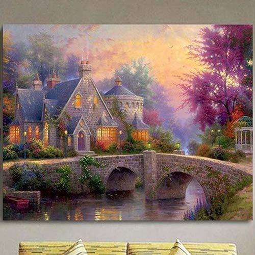 bdrsjdsb 5D Dreamy Hut Rahmenlose DIY Kreuzstich Gestickte Malerei Home Wall Decor Poster