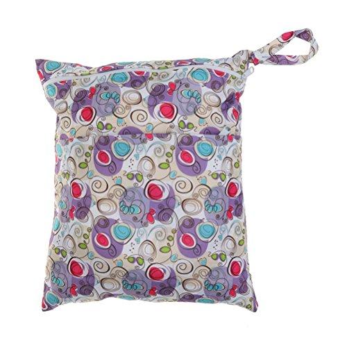 VORCOOL Resuable couche mouillée d'infantile sec sac imperméable à l'eau Nappy bébé sec humide Resuable couche-culotte pochette avec fermeture-éclair double Rainbow (Purple Wave)