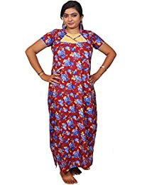 AISNIGHA Womens meroon Print Cotton Nighty a deep 5067 | Womens Soft and Comfortable Nightgown for Straight-Fit | Ladies Nighty Set | High-Quality Nightwear for Everyday Use – Large | XL | XXL | stylish piece of ladies nighty that is ultra-soft and durable | Made from best quality materials | comes under best price