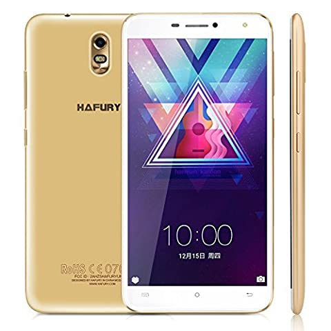 Cubot HAFURY UMAX Smartphone ohne Vertrag 6 Zoll HD Touch-Dispaly mit 4500 mAh Akku, 2GB Ram+16GB interner Speicher, Quad-Core Prozessor, Android 7.0, Dual-SIM, 3G,5MP Frontkamera / 13MP Hauptkamera, IPS. 2.5D gebogenes Display, WIFI,