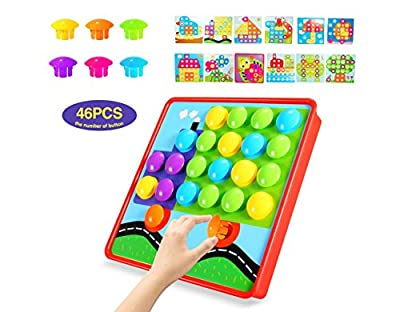 YDPlaier Button Art, Puzzles for 2 year old & 3 year old,Color Matching Pegboard Boys and Girls
