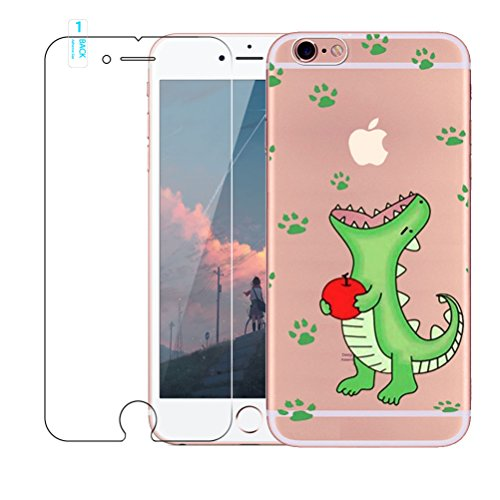 iPhone 7 custodia [with free tempered glass Screen Protector], BLOSSOM01 ultra sottile in gel morbido TPU silicone cover con cover per iPhone 7, Donuts, iPhone 7 Crocodile