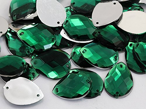 18x13mm Green Emerald CH18 Square Cut Teardrop Flat Back Sew On Gems - 50 Pieces by KraftGenius