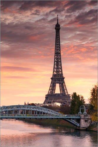 Posterlounge Acrylglasbild 120 x 180 cm: Seine und Eiffelturm bei Sonnenaufgang, Paris, Frankreich von Matteo Colombo - Wandbild, Acryl Glasbild, Druck auf Acryl Glas Bild