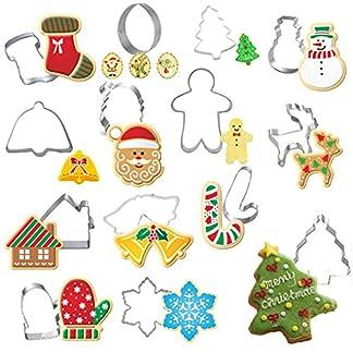Pegcdu 14pcs / Set Molde de Acero de Navidad cortadores de la Galleta del Pan de Jengibre Casa Inoxidable Hombre del árbol de Navidad Hornear el Pastel de la Galleta de la Pasta de azúcar