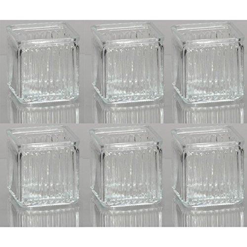 Annastore 6 x Windlichter aus Glas geriffelt H 12 cm Windlichthalter Teelichtgläser im Vintage-Look
