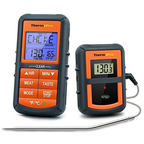 ThermoPro TP07 Termómetro Cocina Digital Termómetros Barbacoa Inalámbrico para Carne BBQ Horno Parrilla...