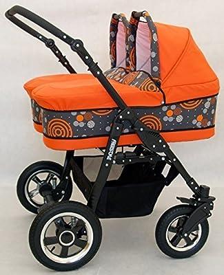 Carro gemelar completo. Capazos+sillas+accesorios. Naranja.