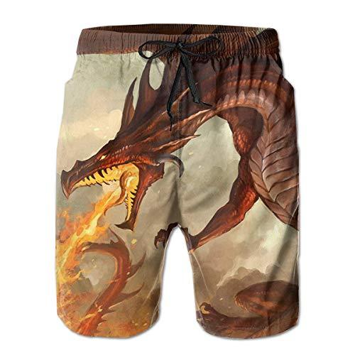 Herren Badehose Dragon Breathing Fire Casual Sportswear Quick Dry Beach Shorts für Jungen Sommer