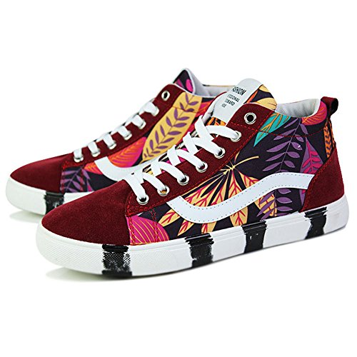 SGoodshoes Chaussure en Toile Outdoor Casual Lace-Up Baskets Mode De Sport Sneakers Rouge