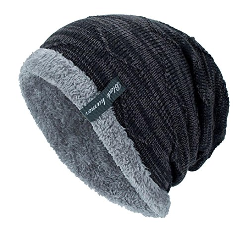 Yanhoo berretto a maglia, cuffia con risvolto beanie lavorato a maglia beanie invernale (formato libero, nero)