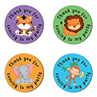 "40mm Jungle Animals ""Thank You For Coming To My Party"" Round Stickers for Party Bags & Sweet Cones - Lion, Monkey, Elephant & Tiger (48 Stickers)"
