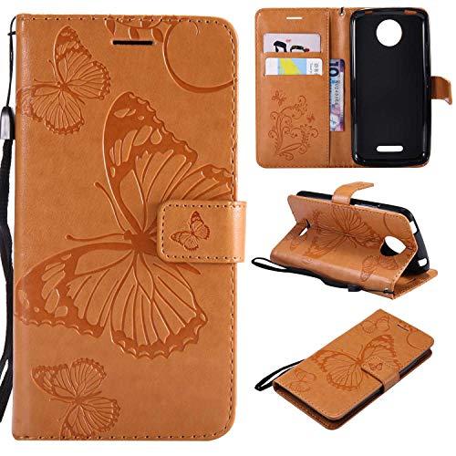 Moto C Plus Hülle, Conber Lederhülle Handyhülle mit [Kostenlose Schutzfolie], PU Tasche Leder Flip Case Cover Emboss 3D Schmetterling Schutzhülle für Motorola Moto C Plus - Gelb