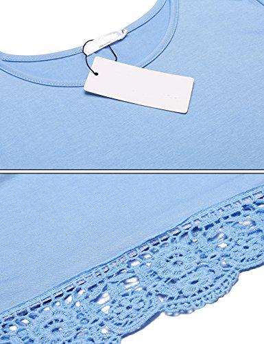 Parabler Damen Sommer T-Shirt Kurzarm Tops mit Floral Spitze Spitzenshirt Bluse Hemd Shirt Tunika Himmelblau