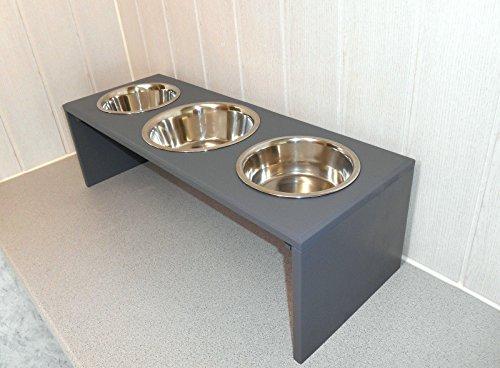 Futternapf / Hundenapf für Ihren Vierbeiner, tolle Futterbar mit 3 großen Edelstahlnäpfen. Handgefertigtes Hundezubehör und Tierbedarf. Lackierung in anthrazit! (P6))