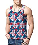 Bfustyle Mens 3D Muster Blume Westen Fitness Workout Printed Tank Top Weste T-Shirt Sommer Urlaub Kleidung