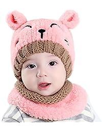 Bufandas del Bebé,Xinan Invierno Niño Niña Sombrero + Bufanda Dos Piezas Punto (Rosa)