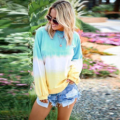 B-commerce Frauen Farbverlauf T-Shirt Langarm Pullover Sweatshirt Lässige Crewneck Sweatshirt -