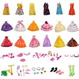 #8: MagiDeal 18 Pieces Fashion Wedding Dresses Party Dresses Clothes Gown + 50Pcs Doll Accessories Shoes Glasses for Barbie Dolls Girls Toys Xmas Gifts