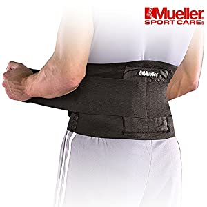 Mueller 4581 Back Support Belt For Sports Posture Support | Back Brace for the Lower Back - Fully Adjustable with flexible steel springs conform for lumbar support for Men or Women - Black