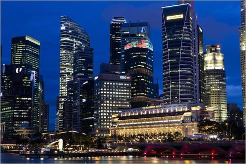 Posterlounge Forex 180 x 120 cm: Singapore Skyline at Night II di...