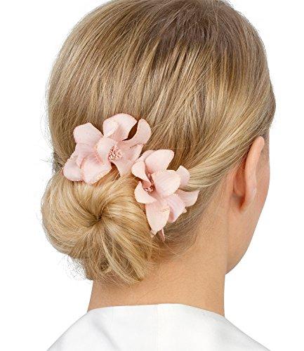Haar Spangen, Haarklammern, Haarclips mit schönen rosa glitzernden Orchidee Textil Blumen, Damen, Kinder, Dutt, 6 cm (488-073) (Rosa Damen Haar)
