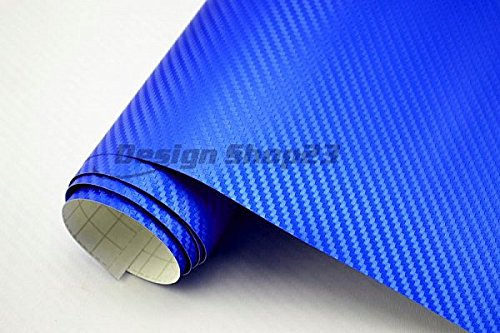 4,5€/m² Auto Folie 3D Carbon Folie - BLAU METALLIC - 100 x 152 cm BLASENFREI selbstklebend flexibel Car Wrapping