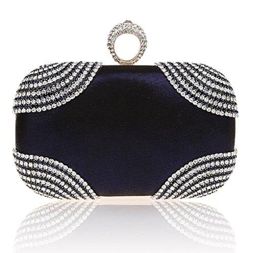 KAXIDY Pochette Donna Luccicante Diamante Sera Borsa Sacchetti di Sera Frizioni Festa Nuziale Borsa Tracolla Blu