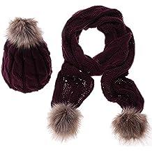 ducomi® Lux & Co. Juego con bufanda y gorro de lana suave con pompones