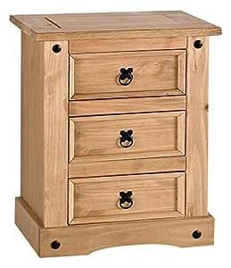 tables de chevet paire corona mexicaine pin 3 tiroirs des. Black Bedroom Furniture Sets. Home Design Ideas