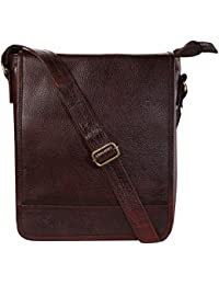Ayesha Leather Works Pure Brown Leather Sling Bag, Side Bag, Messenger Bag For Men And Women