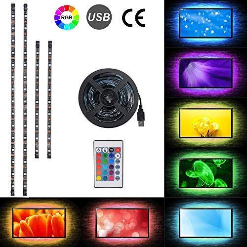 Preisvergleich Produktbild 2 x 50cm + 2 x 30cm LED-TV-Hintergrundbeleuchtung USB betrieben,  RGB Mehrfarben LED-Streifen-Lichter mit 24 Tasten Fernbedienung für 40-60in HDTV,  Monitor & DIY Dekoration