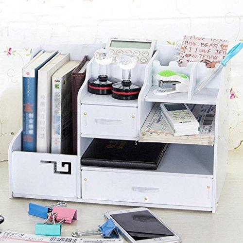 HETAO Mehrzweck-Bücher PVC-Holz-Kunststoff-Platte Regale Schublade Desktop-Datei-Box 37 * 23 * 24.5CMEinfach und stilvoll