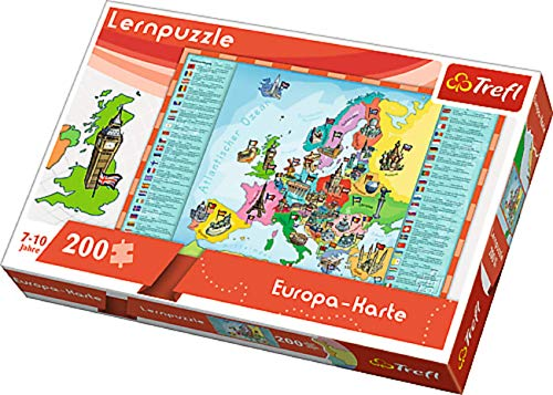 Lern Kinder Puzzle Puzzles Erdkunde Europa Europakarte mit Sehenswürdigkeiten Motiv 200 Teile ab 7 Jahre Geschenk Idee für Mädchen Jungen Ostern Geburtstag Weihnachten Mitbringsel
