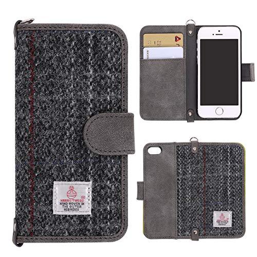 iPhone 7 Hülle , Schutzhülle HandyHülle iPhone 8 MONOJOY Leder Tasche [Harris Tweed ] [Kartenfach] [Magnetverschluss] fur iPhone 7 / 8 (Grau) Mobile Phone Management Tool