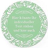 24 PERSONALISIERTE runde Etiketten mit Motiv: Grün Schnörkel - Ihre Aufkleber online selbst gestaltet, ganz individuell