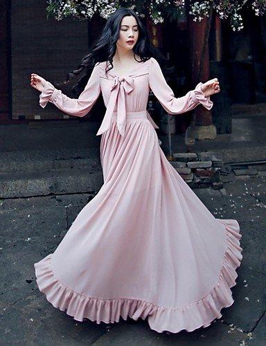 PU&PU Robe Aux femmes Swing Vintage / Décontracté / Plage / Mignon , Couleur Pleine Noeud Maxi Lin PINK-M