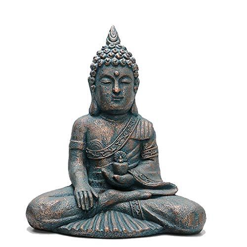 INTER FAST Spielzeug Thai Buddha Statue Harz Stein Skulptur Veranda Hof Garten Sitzende Buddha Statue 44 cm x 28 cm x 55 cm