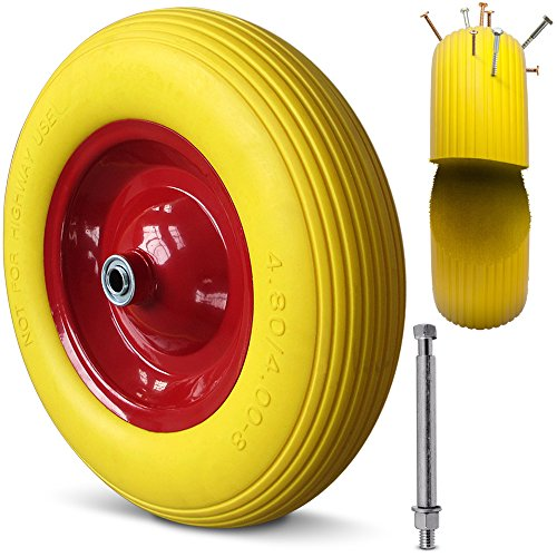 Deuba Schubkarrenrad Vollgummi PU 4.80/4.00-8 390 mm 200 kg + Achse - Reifen Ersatzrad - 2