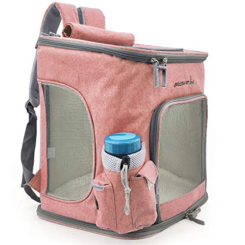 LUCKGXY PET Carrier, Dog Cat Puppy Kaninchen Travel Foldable Bed Mesh Breathable Lightweight Luxury Soft Comfort Expandable Airplane Bag,pink -