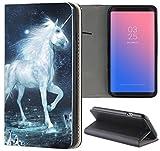 Samsung Galaxy J1 2016 J120 Hülle Premium Smart Einseitig Flipcover Hülle Samsung J1 2016 Flip Case Handyhülle Galaxy J1 2016 Motiv (1470 Einhorn Pferd Fantasy Blau Weiß)