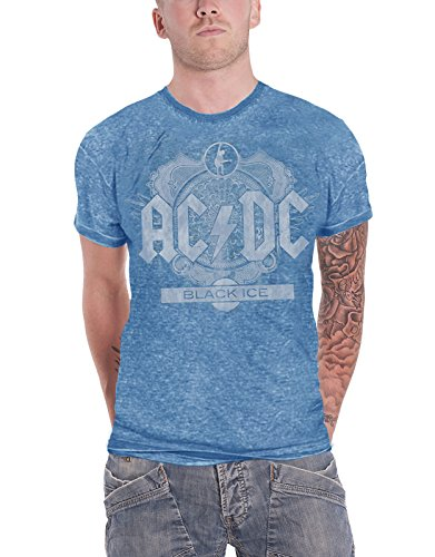 AC/DC T Shirt Schwarz Ice Album Cover Band Logo Offiziell Herren Nue Blau (Black Ice Womens)