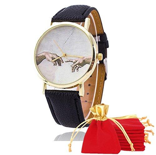 ebijoux 1863–[Schaffung von Adam schwarz] Uhr Unisex Armbanduhr–mit verstellbaren Riemen A 6Löcher–Quarz–Tasche Velours rot und gold–perfekte Geschenk